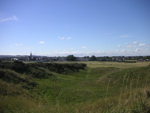 Looking from the 2nd tee back at the town of Montrose