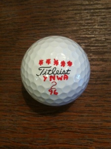My golf ball marked up in support of Liverpool FC